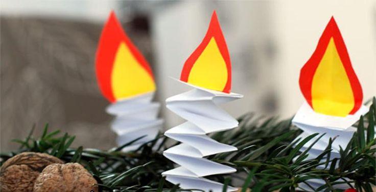 Papierowe świece na choinkę