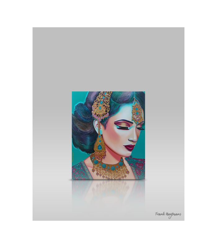 """Painting of a beautiful indian woman by Frank Wagtmans. Canvas 120x100cm. Only one copy available! Indian bride portrait """"Lost In Paradise"""". With impeccable attention to detail, Wagtmans transforms a plain canvas into an image of pure beauty and elegance. Hand-painted portrait. Large painting. Mixed media art. #painting #portrait #art #artwork #paintings #portraits #portraiture #indianbride #indianwoman #teal #turquoise #bollywood #bollywoodart #modernpainting #schilderij #kunst #portret"""
