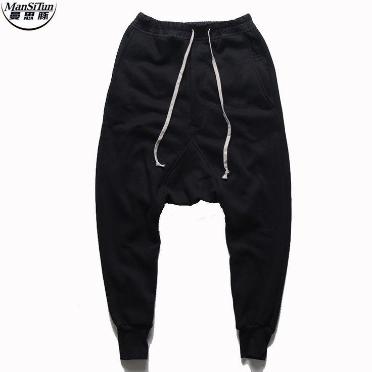 Man Si Tun  joggers Casual Trousers Harem Pants Men Black Fashion Swag Dance Drop Crotch Hip Hop Sweat Pants Sweatpants For Men