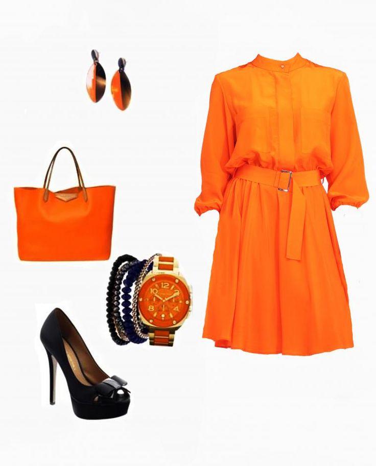 Сочный цвет в гардеробе женщины: оптимистичное оранжевое платье