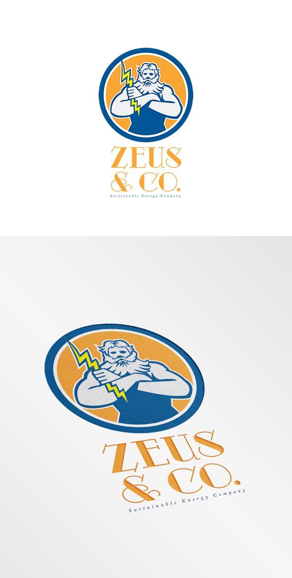 Zeus Sustainable Energy Company Logo. Logo showing illustration of Zeus Greek arms cross holding thunderbolt set inside circle on isolated background done in retro style. 100% re-sizeable