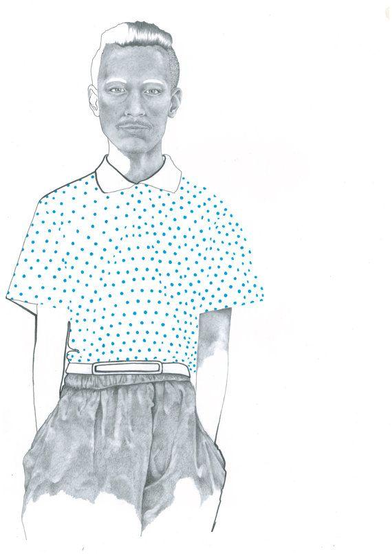 Menswear Fashion Print from Original Pencil by KatieMunroPrints