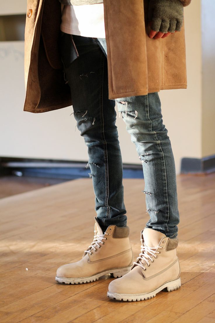Timberlands With Skinny Jeans And Coat Style Men Man Fashion Look Inspiration Beige
