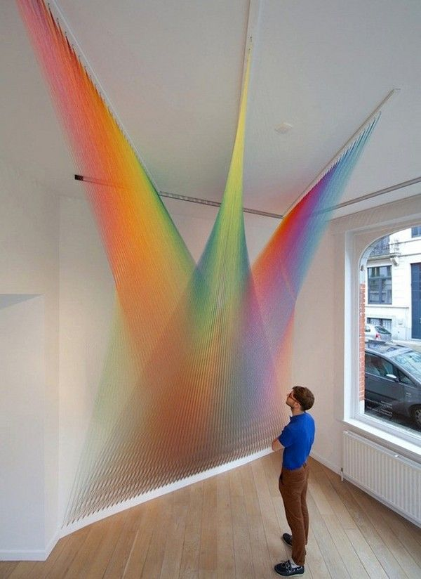 Paintings and Art / Unique like rainbow textile art in white interior installation