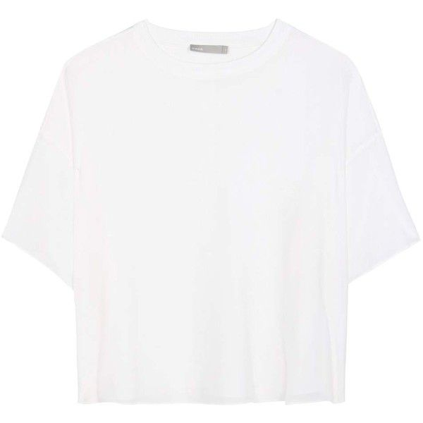 Vince Silk T-Shirt (£295) ❤ liked on Polyvore featuring tops, t-shirts, shirts, white, silk top, white silk shirt, silk tee, silk t shirt and silk shirt