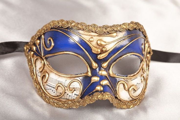 Blue Venetian Masquerade Masks for Men decorated with muscial notes and gold leaf - Vivian Music Mask