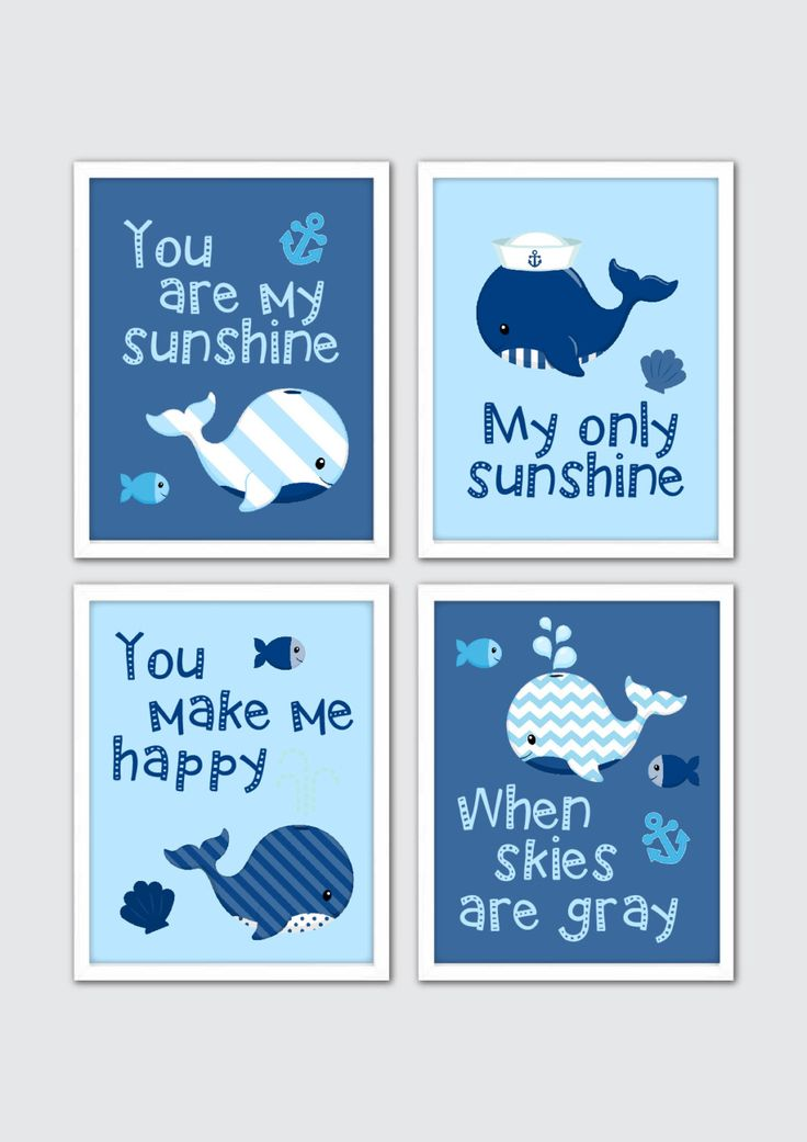Baby Boy Nursery Art, Whale Nursery Art, Bath Nursery Prints, Sea Life Nursery Decor, Sea Animals Nursery, You Are My Sunshine Quote Print by RomeCreations on Etsy