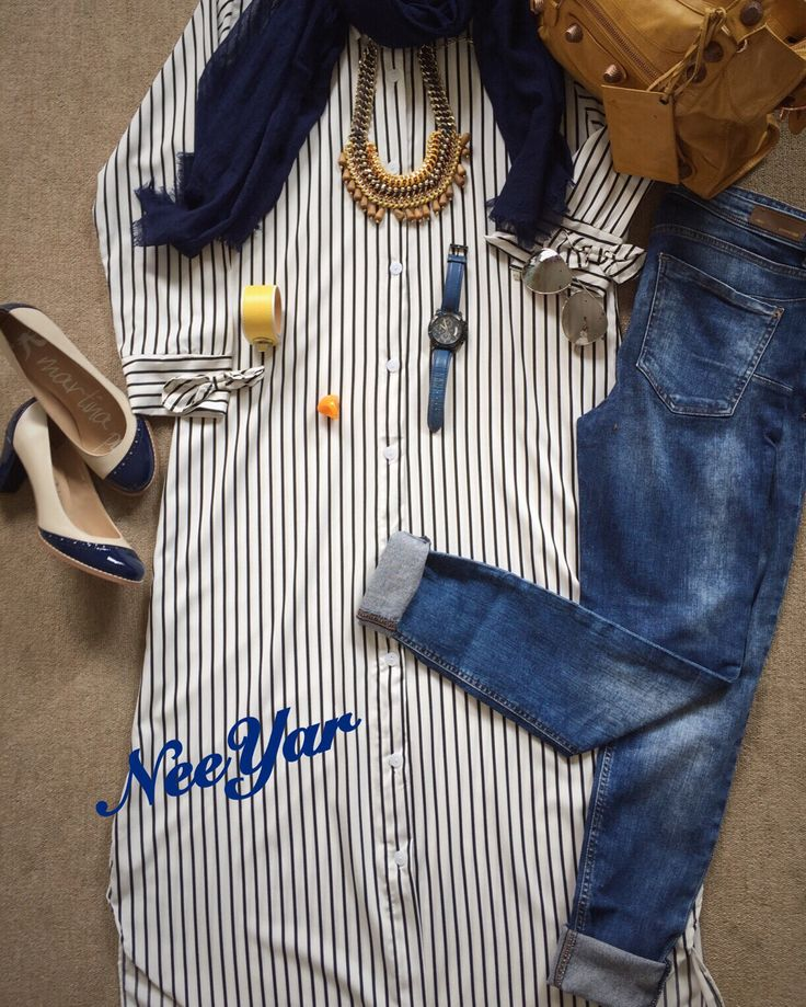 Stripes blouse n yellow necklace...
