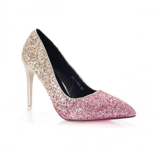 Pantofi dama Venera aurii cu gliter roz