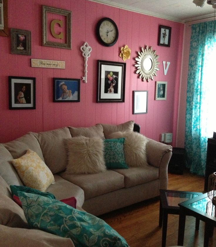 Pink And Teal Living Room Gallery Wall Decor