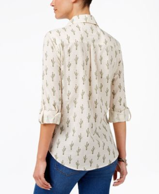 Style & Co Petite Cotton Printed Shirt, Created for Macy's - White P/XS