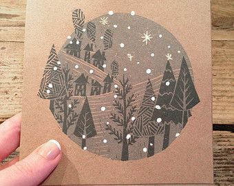 Handmade Embossed Lino Print Christmas Card