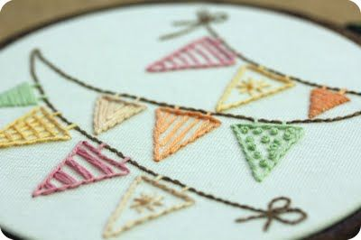 bunting embroidery, Idea only. No pattern, but easy to replicate with different stitches. Great concept: thanks so xox