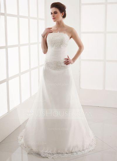 Corte A/Princesa Estrapless Cola watteau Desmontable Organdí Vestido de novia con Volantes Encaje Bordado (002001305)