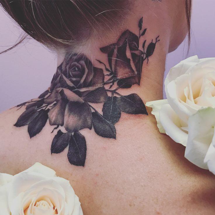 Rose neck tattoo black and grey by @malikarose
