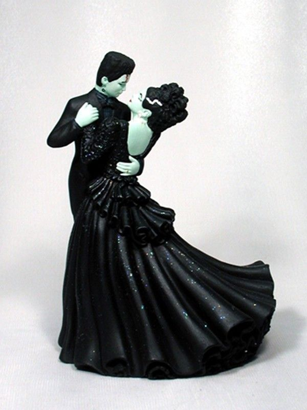 groom bride wedding cake top Halloween Frankenstein monster zombie vampire Dracula skeleton black cat creature