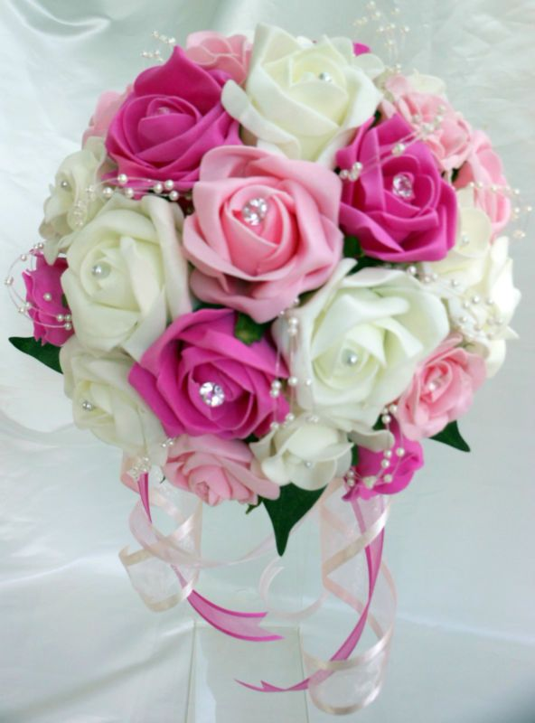 Brides Bridesmaids Wedding Bouquet Flowers Fuschia Light Pink Ivory