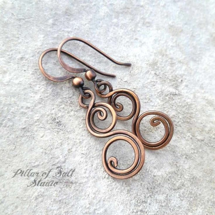 copper wire wrapped jewelry earrings by Pillar of Salt Studio #jewelryearrings