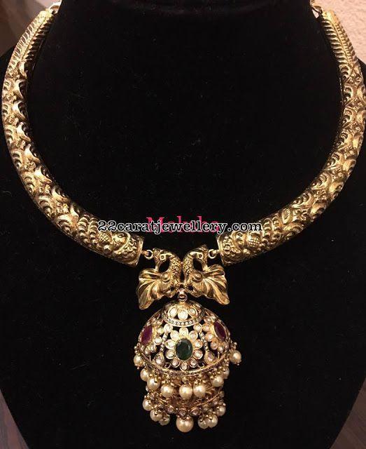 Antique Choker with Pachi Work Jhumka - Jewellery Designs