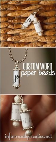 DIY JEWELRY | Custom Paper Bead Charms ~ You can customize these beads with any name, date, words, etc, and they are awesome gifts for kids to make!