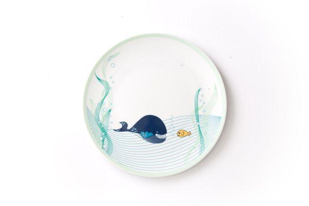 Talerzyk Spotkanie z wielorybem (śr.21cm) - Zulana-porcelana - Talerzyki dla dzieci