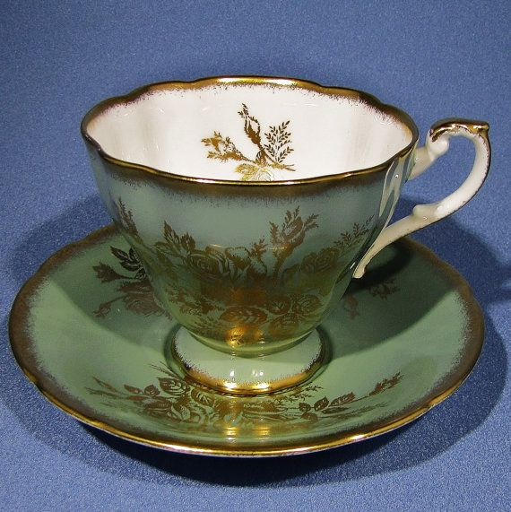 PARAGON Tea Cup and Saucer, Mint Green PARAGON, Pedestal Tea Cup with Gold ROSES
