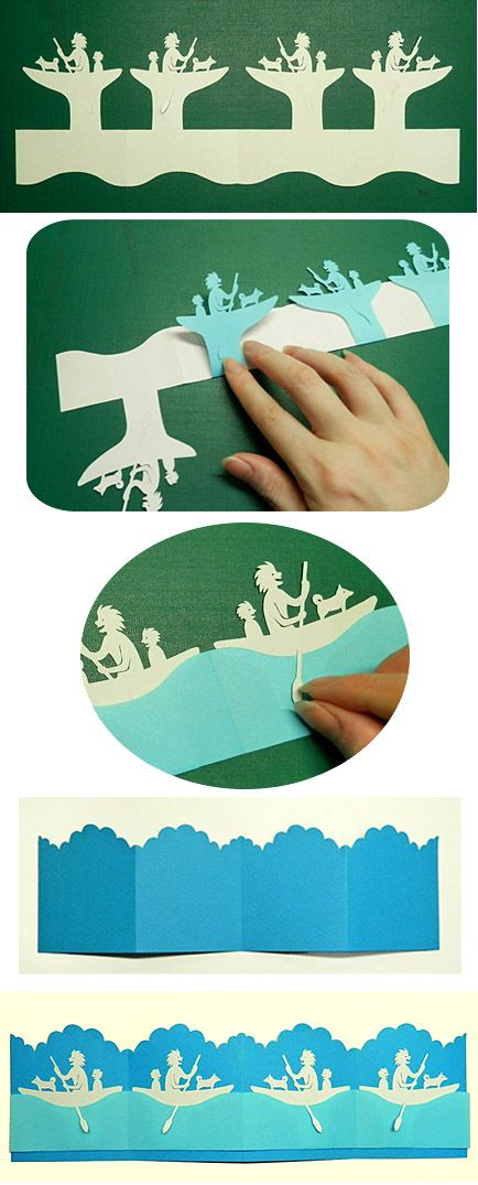 Japanese kirigami art (cut paper).   Parent and child of a primitive man getting into a boat.