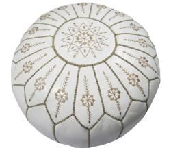 Moroccan leather pouf ottomanLeather White, Inspiration, Ottoman Morocco, Poufs Ottoman, Moroccan Leather, Moroccan Poufs, White Jasmine, Jasmine Poufs, Leather Poufs