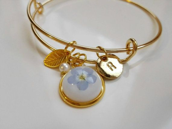 Gold Bracelet. Memorial Bracelet. Personalized Initial Letter Bangle Bracelet with Charms. Forget me not Pressed Flowers Bangle Jewelry. by MyJewelsGarden Flower Jewelry by Myjewelsgarden