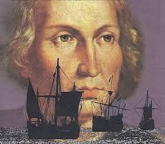 La imagen de Cristobal Colon y sus tres barcos la Nina, la Pinta y la Santa.