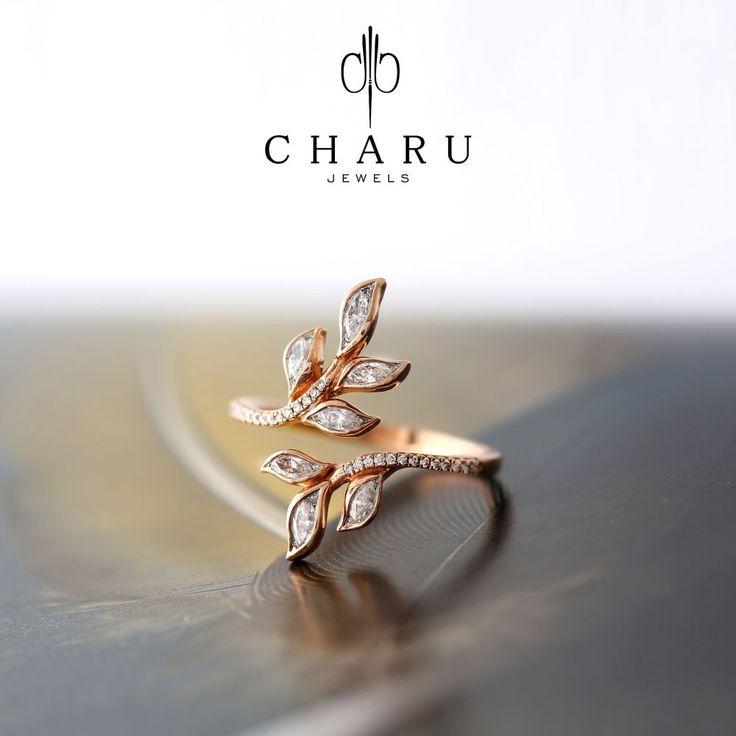 0.44 Carat Round & Marquise Diamond Valentine Day's Wedding Ring , 18k Rose Gold #charujewels #Journey #Wedding