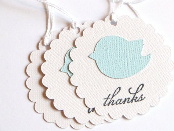 Blue Bird Baby Boy shower tags Blue Baby Bird by WildSugarberries, $9.50
