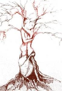 tree drawing heart with man and woman intertwined in tree ...