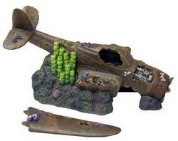 "Amazon.com: Fish & Aquatic Supplies Resin Ornament - Sunken Plane 12"" With Broken Wings: Pet Supplies"