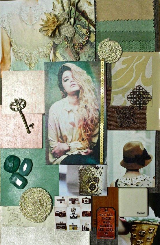 Mint, Gold and Brown Interior Design Concept Board