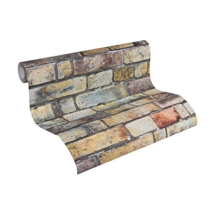Vliestapete Tapete Steinoptik Steinwand Ziegel Wandtapete Mauer Industrie Beige