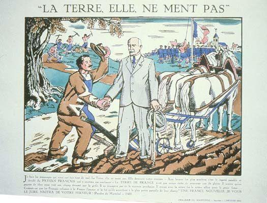 Affiche de propagande affirmant le culte de la personnalité du maréchal Pétain