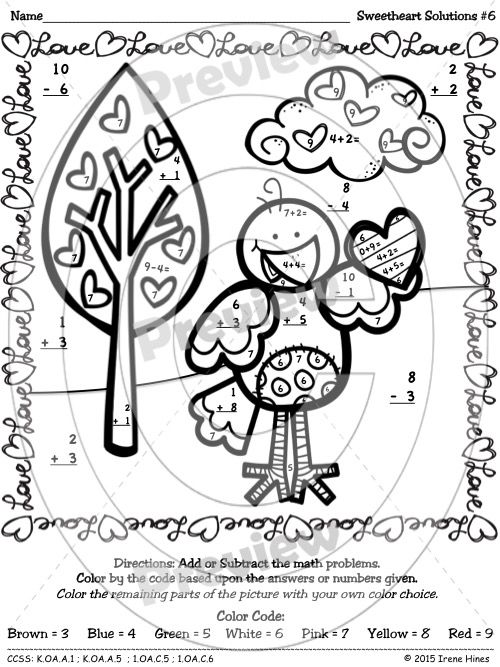Valentine's Day Math Activities ~ Sweetheart Solutions ~ Color By The Number Code Puzzle Printables For February, Valentine's Day and Winter To Practice Number Recognition Skills And Basic Addition And Subtraction Facts ~ 6 Puzzles ~This Color By Number Unit Is Aligned To The CCSS. $