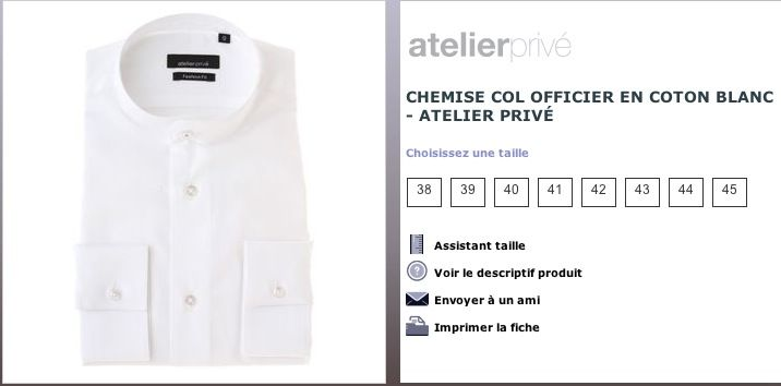 Chemise Col Officier Atelier Privé à 35€ au lieu de 70