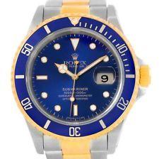 Rolex Submariner Azul Acero Dial Oro Amarillo De 18k Reloj 16613