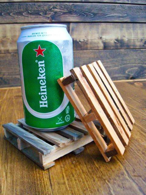 Mini PALLET Coasters / Trivet -- Set of Four -- By TheOakBarnCollection, $15.95