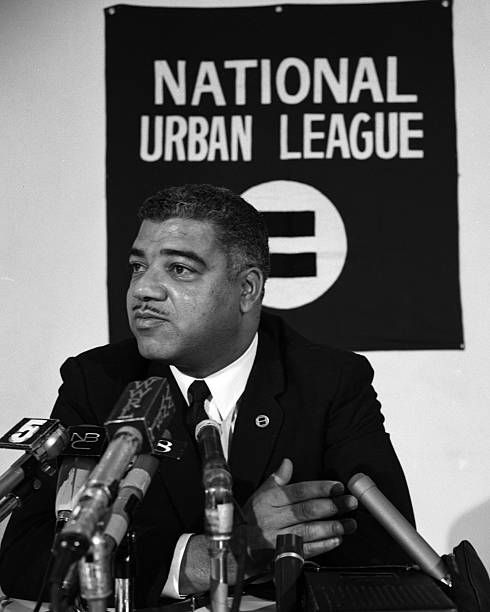 National Urban League Headquarters at 55 E52 St. Whitney Young Jr Executive National Urban League Headquarters at 55 E52 St. [Whitney Young Jr. Executive Director National Urban League Civil Rights leader speaking at news interview on controversial issue of school decentralization. September 20, 1969,]