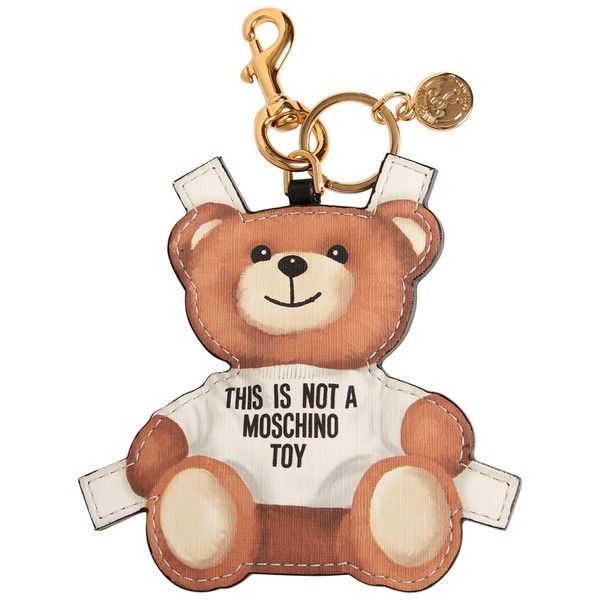 Moschino Women Teddy Bear Tab Key Chain ($225) ❤ liked on Polyvore featuring accessories, white, key chain rings, ring key chain, moschino, fob key chain and keychain key ring