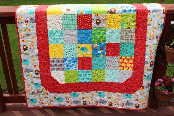 Baby Quilt  Bungle Jungle Handmade quilt  Minky by MeandMomQuilt, $80.00 Design idea