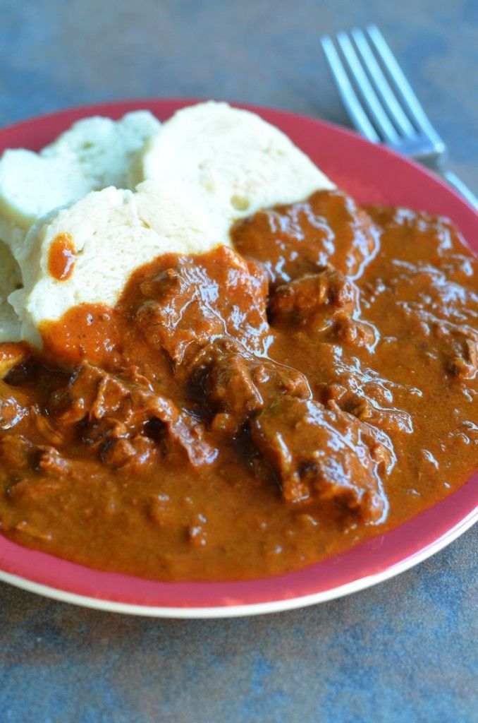 Czech Goulash – Cesky Gulas  Ingredients 2 tablespoons olive oil 2 large yellow onions, chopped 3 lbs stewed beef in 1/2 inch cubes 4 to 6 tablespoons Hungarian paprika (fresh is best) 1 tablespoon tomato paste 2 cloves of garlic, minced 3 tablespoons Wondra flour Water to cover Salt and pepper to taste