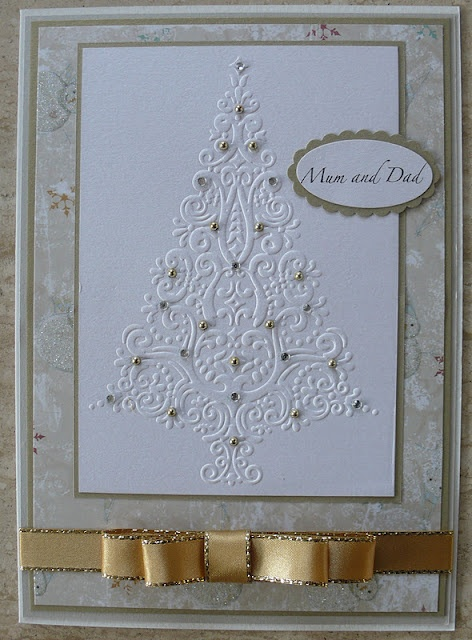 Christmas Tree 009- Large Embossed Pine Tree with Gold Rhinestone and Ribbon Accents Christmas Card