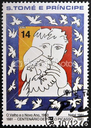 SAO TOME AND PRINCIPE - CIRCA 1981: A stamp printed in sao Tome shows the old and the new year by Pablo Picasso, circa 1981