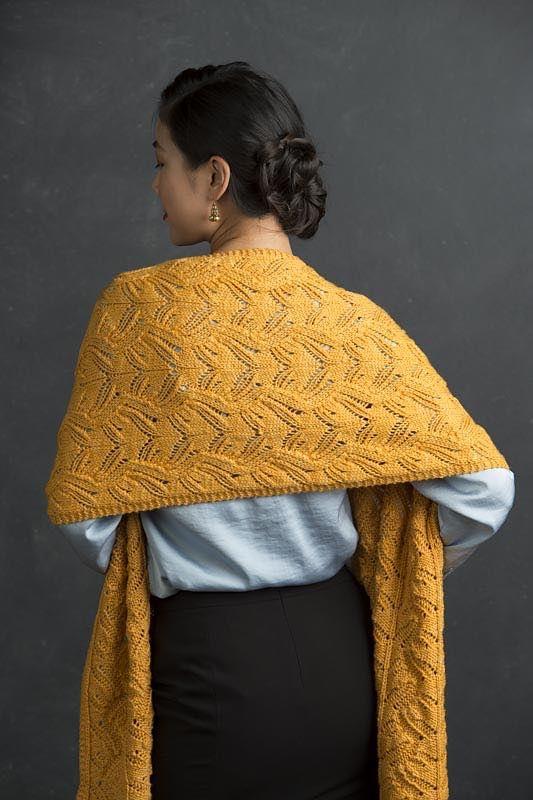 Dwyn by Jennifer Wood.  Knitted wrap or shawl.  Refined Knits (ebook) by Jennifer Wood.  Saved to Evernote/ iBooks.  10 ply 180m/100g x 3