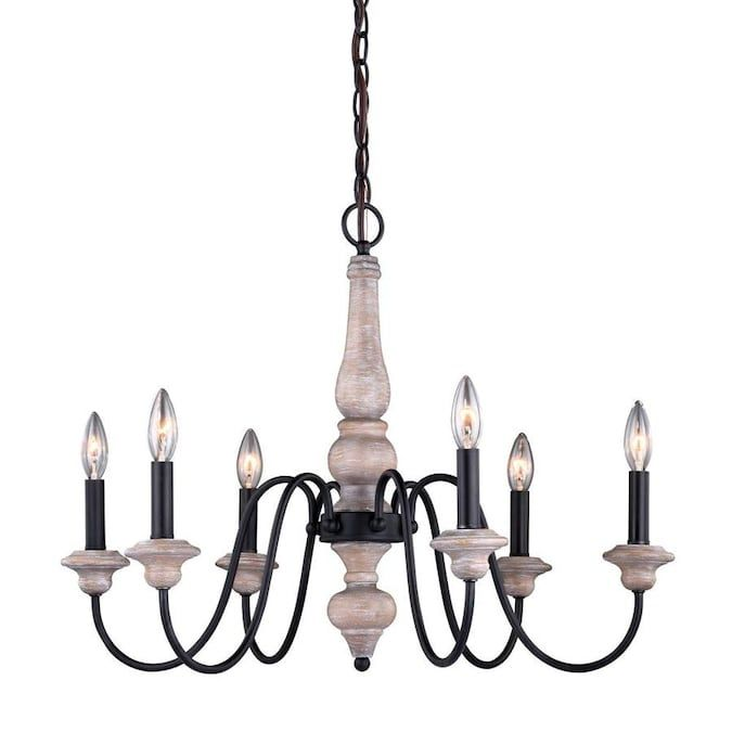 Cascadia Georgetown 6 Light Vintage Ash And Oil Burnished Bronze Farmhouse Chandelier Lowes Com Farmhouse Chandelier Candle Style Chandelier Chandelier