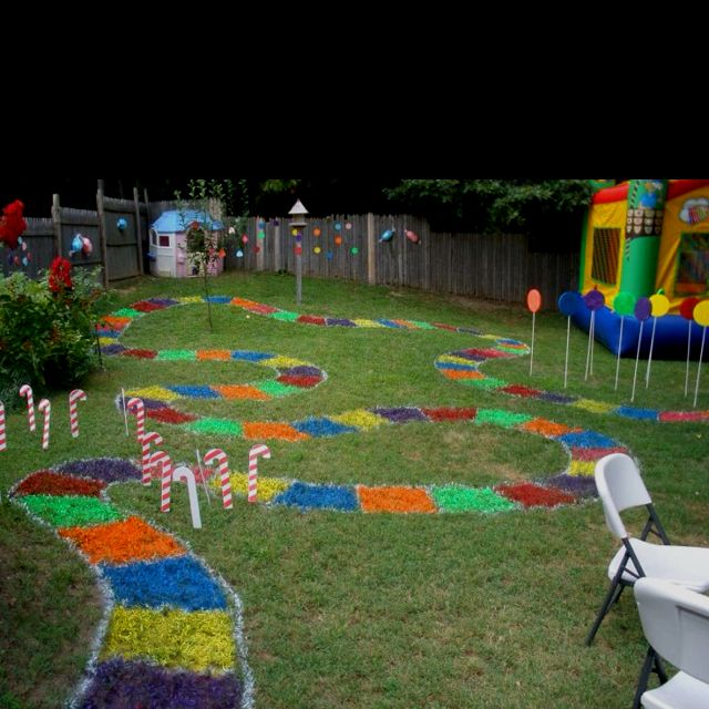 My daughter's 5th Birthday party!  We made a Candyland board in our back yard!